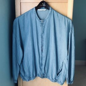 Zara chambray denim bomber jacket - size Small